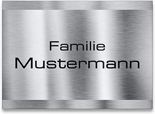 Metzler Namensschild Edelstahl - für Briefkasten, Haustür oder Wand-montage - inklusive Gravur - selbstklebend oder Bohrungen - wetterfest - Produktmaße: 110x80mm (Selbstklebend)