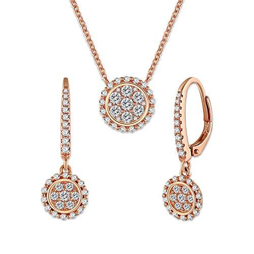 GEORGE · SMITH Collar Pendientes Oro Rosa Conjuntos Joyas Oro Rosa para Mujeres con 5A de Circonia Collares de Mamá Pendientes de Mujeres Regalo Conjuntos Joyería para Mujeres
