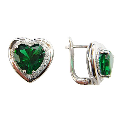 Navachi 925 Sterling Silver 18k White Gold Plated 7.5ct Heart Emerald Az9738e Stud Earrings