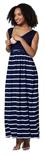 HAPPY MAMA. Damska sukienka do karmienia 2 w 1 sukienka maxi boczne kieszenie bez rękawów. 012p (marynarskie paski, EU 40, L)