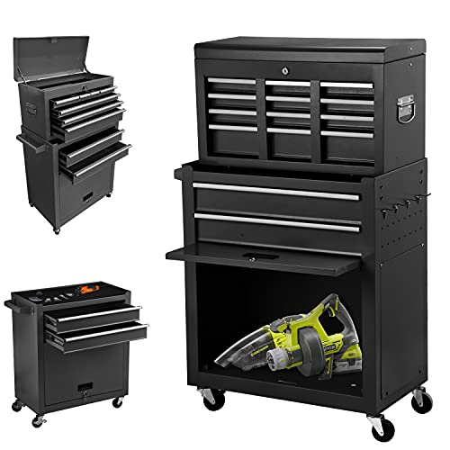 8-Drawer High Capacity Rolling Tool Chest, Removable Cabinet Storage Tool Box with Wheels and Drawers, Detachable Toolbox with Lock for Workshop Mechanics Garage (Black)