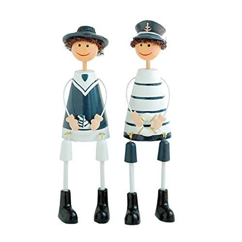 2ST Mittelmeer Marine-Seemann-Figuren sitzen Jungen Warship Sailor Statue abfinden Hand gemalte Statue Ornament Geschenk für Haus Zimmer Büro im Freien Garten-Dekor-L
