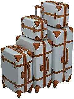 Murano Luggage Trolley Bags Set, 5 Pcs, White and Brown - 5-668809