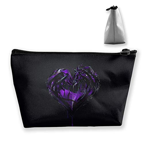 Trousse de maquillage en forme de cœur Violet Plexus Sac cosmétique portable Trapèze Sac de rangement avec fermeture éclair