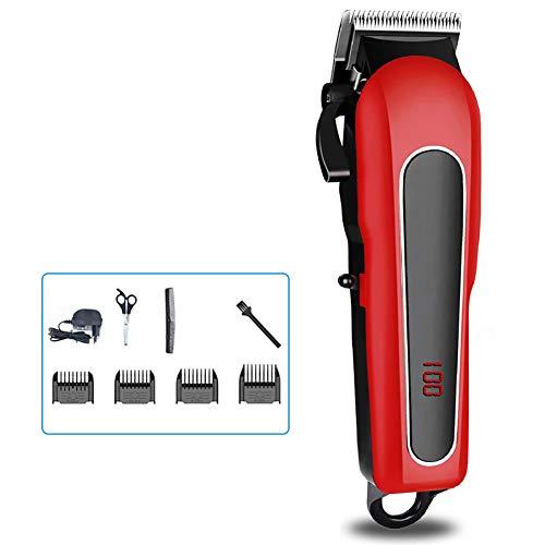 Haartrimmer, professionele elektrische geluidsarme tondeuse met LED-display en 4 kammen voor familie voor mannen en gezinsgebruik