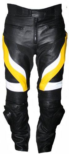 German Wear, Pantalón de motorista para hombre, color amarillo y negro, talla: 48