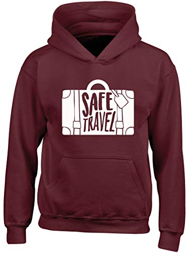 Hippowarehouse Safe Travel Kids Children's Unisex Hoodie Hooded top Maroon