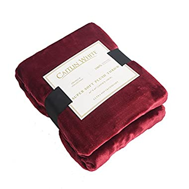Caitlin White Throw Blanket for Couch/Sofa/Bed,Luxury Super Soft Microplush Velvet,50 x60 ,Burgundy