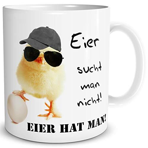 TRIOSK Tasse Küken mit Hühner Spruch Eier hat man lustig Baby Huhn Geschenk für Männer Freunde Büro Kollegen Hühnerliebhaber Ostern Vatertag