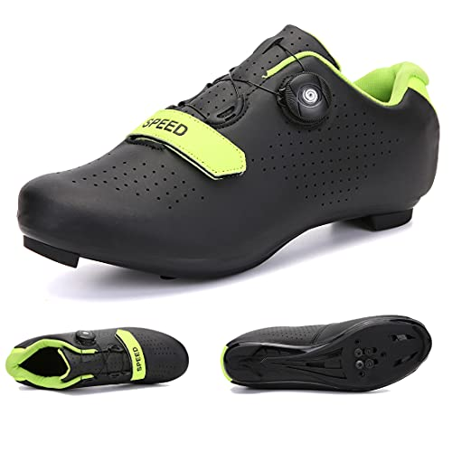SUN ROLLING Bike Cycling Shoes Road Racing Shoes Peloton Shoe for Men or Women Compatible with SPD and Delta Cleats Black Size 5.5