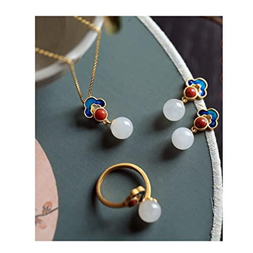 QIFFIY Pendientes de Plata esterlina Hetiana Jade Retro Temperamento Pendientes Pendientes Pendientes Pendientes Pendientes Moda Tendencia Ear Studs (Color : A Set)