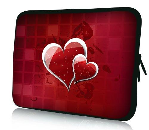 wortek Universal Notebook Tasche aus Neopren für Notebooks bis ca. 17,3 Zoll - Herzen Rot