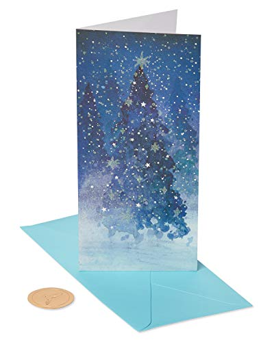 Papyrus Christmas Money Holder Cards Boxed, Snowy Metallic and Glitter Holiday Trees (16-Count)