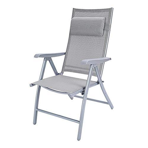 Chaises De Jardin Pliantes Dall Dossier Réglable Chaise Longue Camping en Plein Air Fauteuils Inclinables Châssis en Acier (Couleur : Gray)
