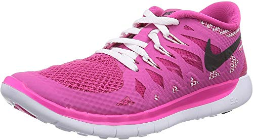 Nike Mädchen Free 5.0 Laufschuhe, Pink (Hot Pink/Black/White), 37.5 EU