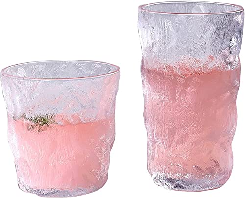Byairls Juego de 2 vasos de whisky de textura glaciar, juego de copas de vino estilo rock japonés para fiestas, bodas y festivales
