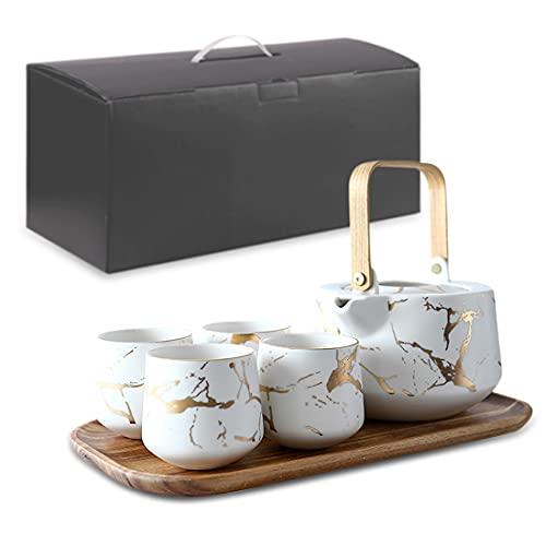 Yatsi Tea Set with White Marble design, Ceramic Tea Pot (40 OZ), 4 Piece Ceramic Tea Cups(8 OZ),Wooden Serving Tray, Luxury Tea Set for Home,Office and gift