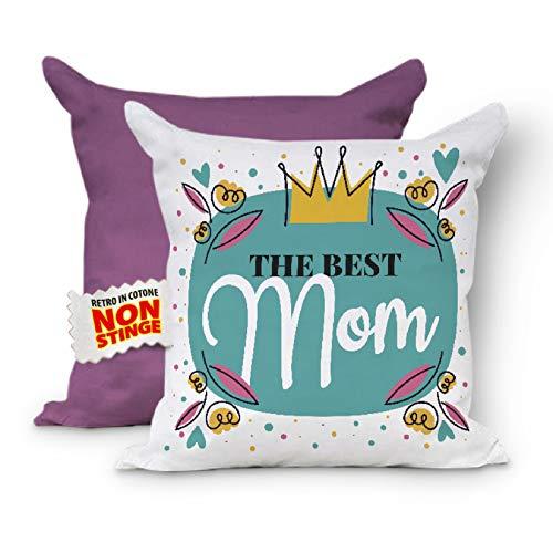 The Best Mom - CUSCINO COMPLETO FESTA DELLA MAMMA. Federa con Imbottitura. Cuscini per divano, Cuscino Mamma, Regalo Mamma, Cuscino decorativo, Cuscino 40x40 (Retro Lilla)