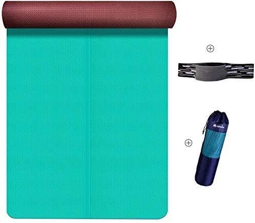 Große dicke Yogamatte rutschfest 6 mm Erweiterung Yogamatte rutschfest für Anfänger Sport und Fitnessmatte mit Gurt in 3 Farben (Farben: A) Training bestes Geschenk