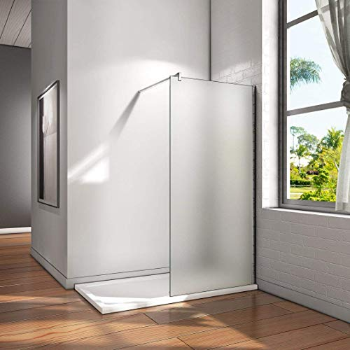 120x200cm Walk in Dusche Duschwand Duschabtrennung 10mm Nano Milchglas frosted Glas Trennwand mit 140cm Stabilisierungsstange