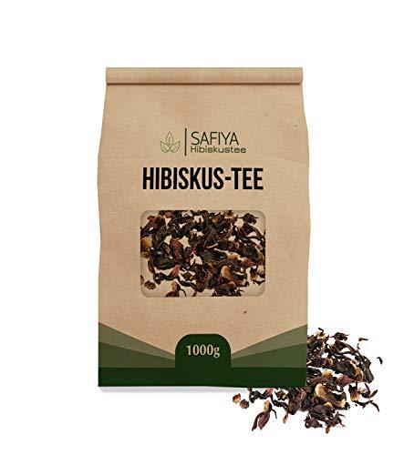 SAFIYA Hibiskus Tee, 1000g | Hibiskusblüten, ganz - Fair Trade | 100{84a6031eaffde2c06584def80fce931c090d22daa19b6ef354e56e830b53e4eb} Natürlich | Große Blüten, Handverlesen | Hibiskustee / Malventee / Karkadeh-Tee | Premium Qualität, Ganze Blüten (1 Kg)