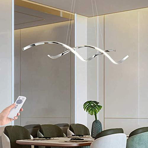 Hängeleuchte Pendelleuchte LED Esszimmerlampe Hängelampe Decken Lampe Moderne Dimmbar Fernbedienung Pendellampe Höhenverstellbar Kronleuchter Für Küchen Wohnzimmer Schlafzimmer Hängend-Leuchte,Silber