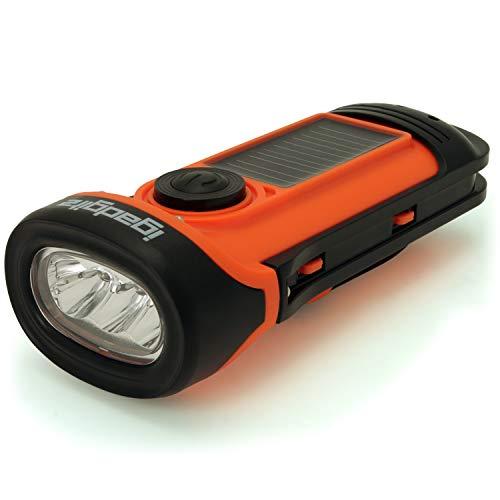 igadgitz Xtra U4456 LED Linterna Antorcha Flashlight Impermeable 5m Eco Recargable con Energía Solar y Dínamo Naranja/Negro