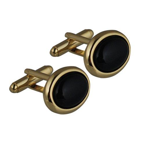 British Jewellery Workshops Boutons de Manchette plaqué Or Dur Ensemble pivotantes 14x19mm Ovale Onyx