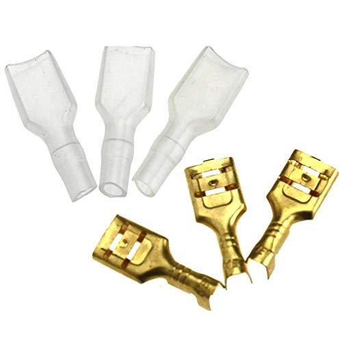 200 stück Kabelstecker Set Crimpverbinder 6.3mm Flachsteckhülsen Flachstecker Spade Kabelschuhe Sleeve