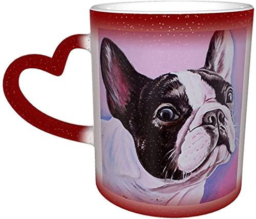 Bulldog Frances Art Magic Taza que cambia de color sensible al calor en el cielo Tazas de café artísticas divertidas Regalos personalizados para amantes de la familia Amigos-Rojo
