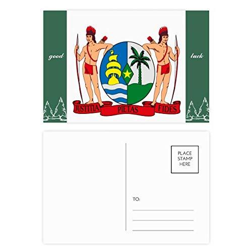 Suriname South Ameica National Emblem Good Luck Postkaart Set kaart Mailing Side 20 stks