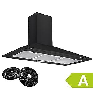 CIARRA CBCB9201 Hotte Aspirante 90cm Noir - 370 m³/h - Filtre à Charbon Inclus - Evacuation ou Recyclage - LED Eclairage - 3 Filtres à graisse Alu Lavable - Hotte de Cuisine Silencieuse
