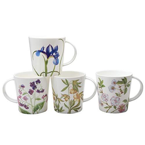 Grace Teaware Bone China Coffee Tea Mugs 16-Ounce, Assorted Set of 4 (Pink Blue Glory)