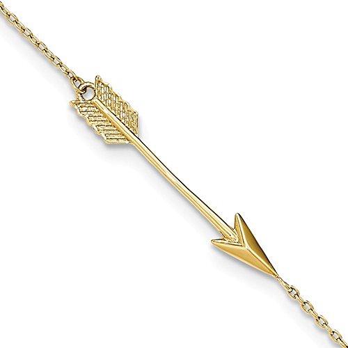 CKL International - Tobillera de Flecha de Oro Amarillo DE 14 Quilates con Extensor DE 22,86 cm