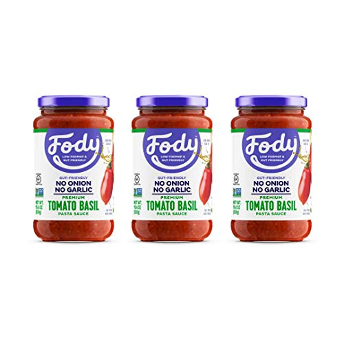 Fody Food Co, Tomato Basil Pasta Sauce, Low FODMAP and Gut Friendly, Gluten and Lactose Free, Garlic and Onion Free, 3 Pack