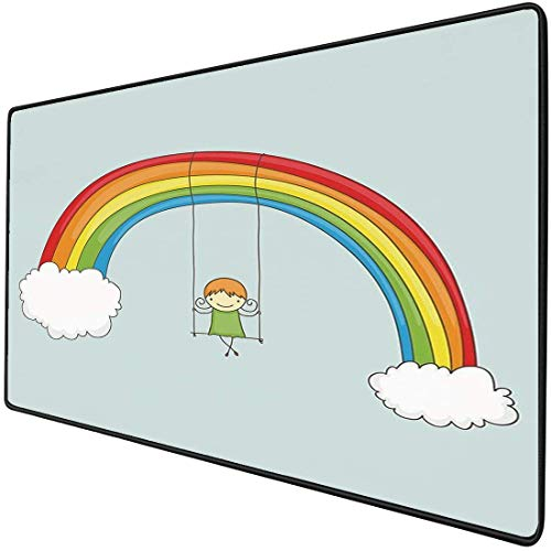 Alfombrilla de ratón para juegos, funcional, resistente al agua, gruesa, de arco iris, para escritorio, linda chica de dibujos animados balanceándose sobre un arcoíris, con dos nubes, fantástica impre
