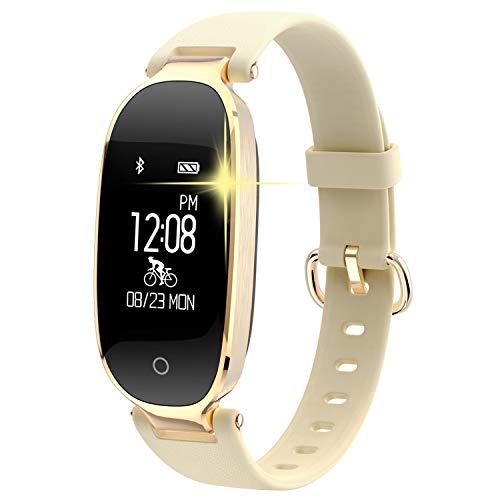 Pulsera Monitor de Actividad Pulsómetro y Podómetro para Mujeres Impermeable IP67, con Bluetooth Contador de Pasos y Monitor de Sueño para Smartphones con Android e iOS: iPhone, Samsung de WOWGO