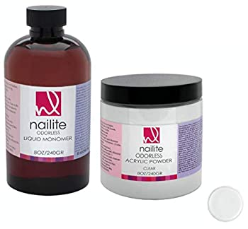 Nailite Odorless Liquid Monomer + Clear Acrylic Powder - Professional System for Nail Extension Non-Yellowing Effect and EMA Formula – Kit 8 Oz.