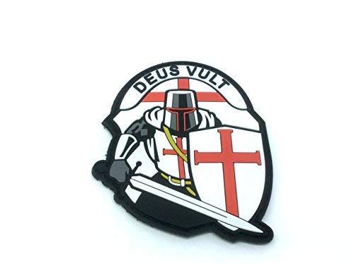 Crusader \'Deus Vult \' Knights Templar Morale Patch PVC Airsoft Paintball Klett Emblem Abzeichen