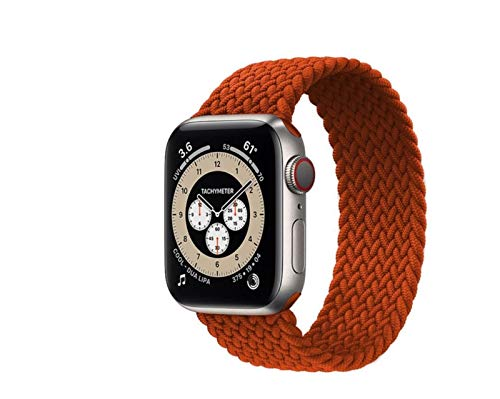 SGGFA 2021 geflochtenes Band für Apple Watch Band 44 mm 40 mm 42 mm 38 mm Stoff Nylon Elastic Gürtel Armband Watch Series 3 4 5 SE 6 Band (Bandfarbe: 3 Anthrazit, Größe: SS-42-44 mm)
