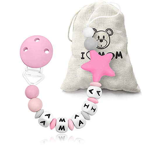 RUBY - Chupetero personalizado para bebe con nombre bola silicona anti