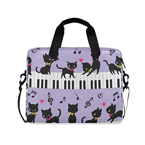 iRoad 15,6 Zoll Laptop Tasche Hülle Tier Katze Klavier Musik Computer Hülle Laptop Sleeve Case mit Schultergurt Tasche für Damen Herren