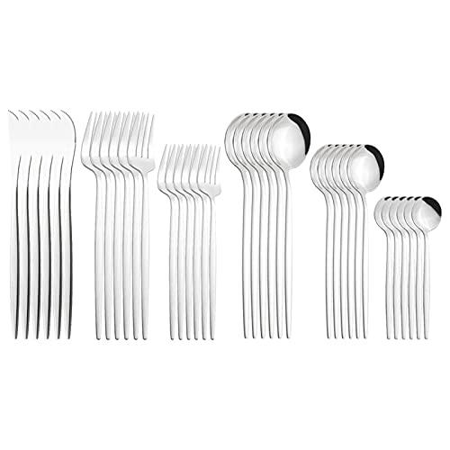LCCDSD Conjuntos de Cubiertos 36pcs Negro Oro Cubiertos Conjunto De Cuchillos Postre Fork Coffee Spoon Tailware Flotware Acero Inoxidable Sildeware Fiesta Set Acero Inoxidable (Color : Silver)
