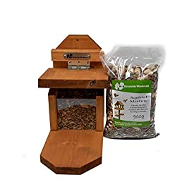 Riverside Woodcraft Squirrel Feeder With Squirrel Food With Anti Bacteria Coating