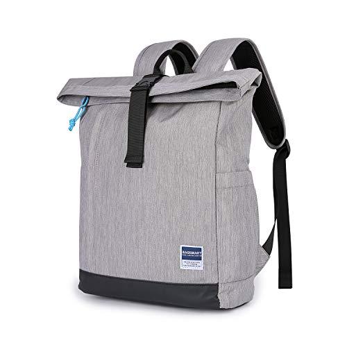 BAGSMART Laptop Rucksack 15.6 Zoll Notebook Reise Backpack Modern Daypack Aktentasche Roll-Top für Schule Arbeit Business, Grau