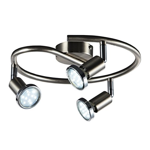 B.K.Licht Lámpara de techo con focos giratoria incl. 3 x 3W bombillas LED GU10 I Aplique de salón I luz blanco cálido 3000K I IP20 I 250lm I níqul mate I 3 Focos