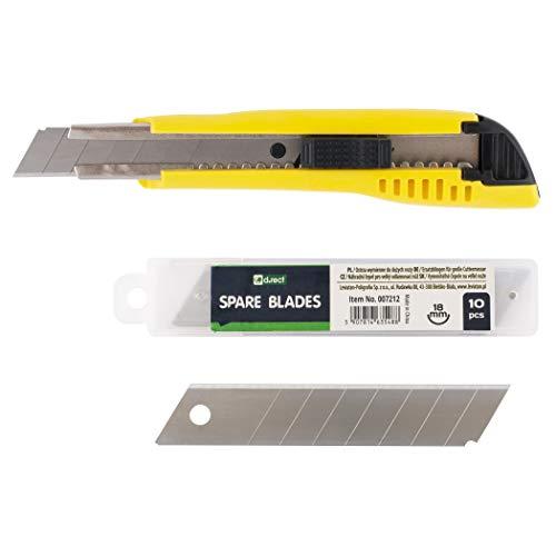 D.RECT 2055 SET Cuttermesser rostfreie Klingenführung Groß 18mm und Ersatzklingen für Cuttermesser Universalmesser Taschenmesser Messer groß 18mm 10 Klingen