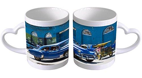 LEotiE SINCE 2004 Kaffeetasse mit Herzgriff Kaffeebecher Becher Tasse Mit Fotodruck Fototasse Oldtimer Auto Havana Oldtimer Herz Griff