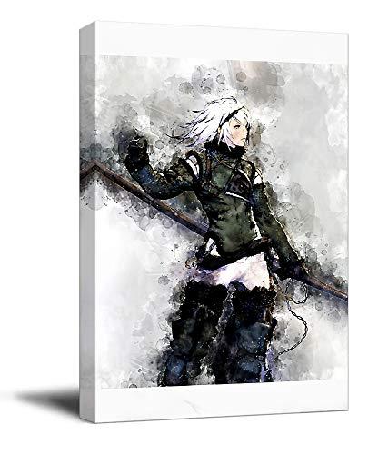 Trelemek Nier Replicant - Stampa artistica da parete su tela, 40,6 x 61 cm, incorniciata per videogiochi, per bagno, allungata e pronta da appendere