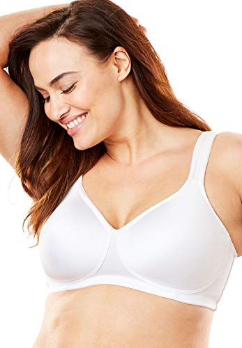Comfort Choice Women's Plus Size Microfiber Wireless T-Shirt Bra - 50 B, White